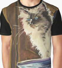 Kitten on Book Mountain Graphic T-Shirt