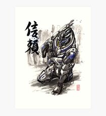 Mass Effect Garrus Sumie style with Japanese Calligraphy Art Print