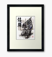 Mass Effect Garrus Sumie style with Japanese Calligraphy Framed Print