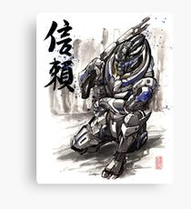 Mass Effect Garrus Sumie style with Japanese Calligraphy Canvas Print