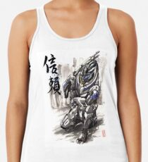 Mass Effect Garrus Sumie style with Japanese Calligraphy Women's Tank Top