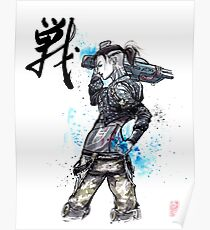 Jack from Mass Effect Sumie Style with calligraphy FIGHT Poster
