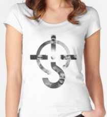 Blue Oyster Cult Logo Black and white Group Women's Fitted Scoop T-Shirt