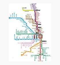 Chicago Trains Map Photographic Print