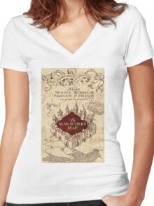 marauders brown Women's Fitted V-Neck T-Shirt