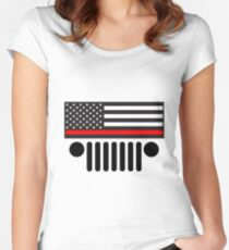 Jeep Firefighter Red Line Flag Women's Fitted Scoop T-Shirt