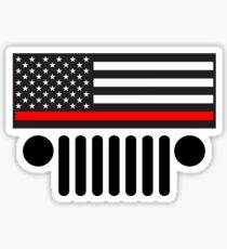 Jeep Firefighter Red Line Flag Sticker
