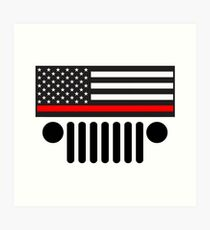 Jeep Firefighter Red Line Flag Art Print