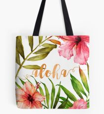 Hawaiian Tropical Floral Aloha Watercolor Tote Bag