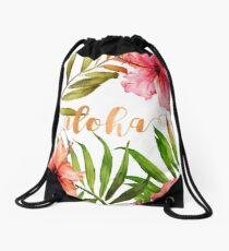 Hawaiian Tropical Floral Aloha Watercolor Drawstring Bag