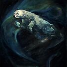 Polar Bear Swimming With Northern Lights by Christine Montague
