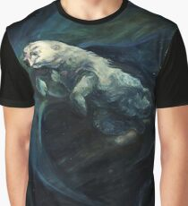 Polar Bear Swimming With Northern Lights Graphic T-Shirt