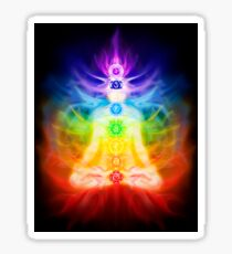 Chakras and energy flow on human body art photo print Sticker