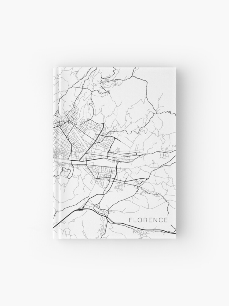 Map Of Italy Black And White.Florence Map Italy Black And White Hardcover Journal