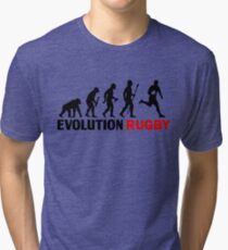 Evolution Of Man and Rugby Funny T Shirt Tri-blend T-Shirt