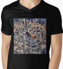Honey bee on chive flower, hand coloured IR Mens V-Neck T-Shirt