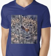 Honey bee on chive flower, hand coloured IR Mens V-Neck T-Shirt