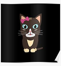 Cute cat with bow   Poster