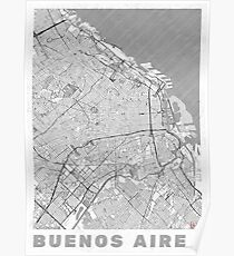 Buenos Aires Map Line Poster