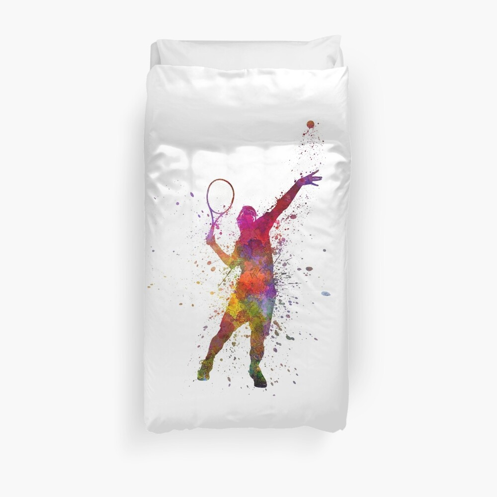 tennis player at service serving silhouette 01 Duvet Cover