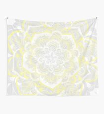 Woven Fantasy - Yellow, Grey & White Mandala Wall Tapestry