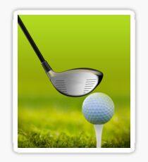Golf ball and driver on green grass Sticker