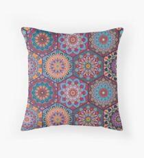 Boho Tiles Pattern Colorful Hexagon Throw Pillow