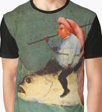 Weird flying fish with riders design by Hieronymus Bosch Graphic T-Shirt