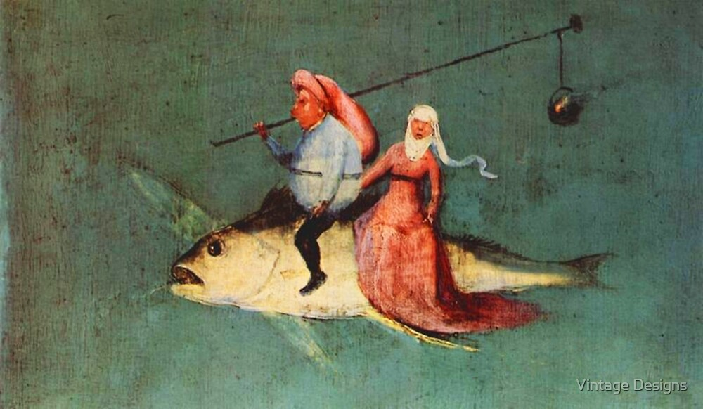 Weird flying fish with riders design by Hieronymus Bosch by Vintage Designs
