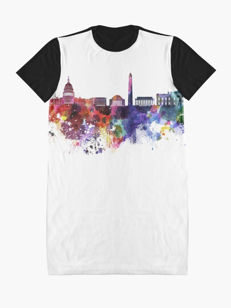 Alternative Ansicht von Washington DC-Skyline im Aquarell auf weißem Hintergrund T-Shirt Kleid