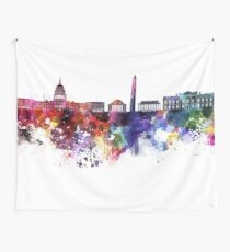 Washington DC skyline in watercolor on white background  Wall Tapestry