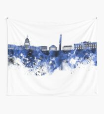Washington DC skyline in blue watercolor on white background  Wall Tapestry