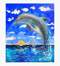 Baby-Delphin-strahlender Sonnenaufgang Fotodruck