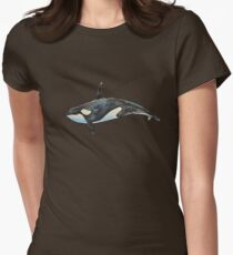 Orca on blue Womens Fitted T-Shirt