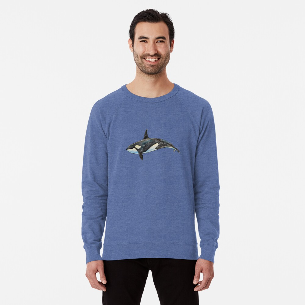 Orca on blue Lightweight Sweatshirt