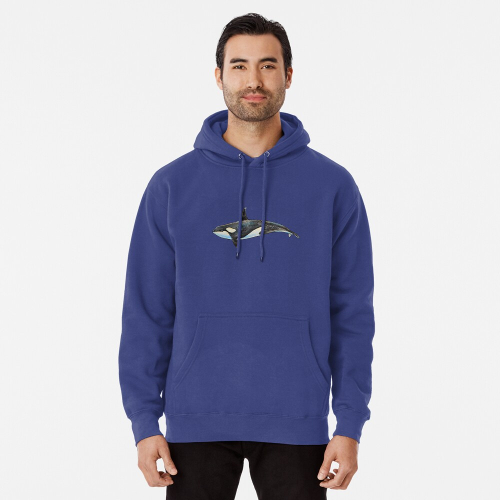 Orca on blue Pullover Hoodie