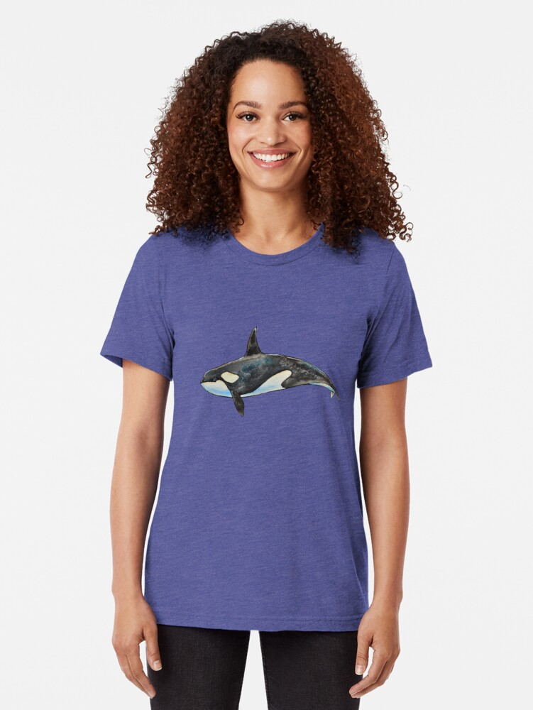 Alternate view of Orca on blue Tri-blend T-Shirt