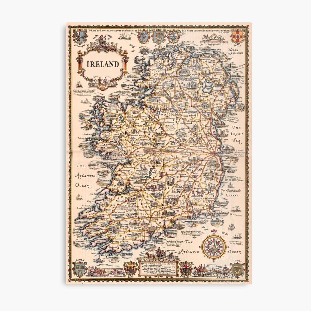 Mapa vintage de Irlanda 1927 Lámina metálica