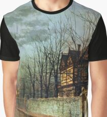 Old English house in the moonlight after rain 1883 by John Grimshaw Graphic T-Shirt