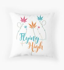 Flying High on Cannabis Throw Pillow