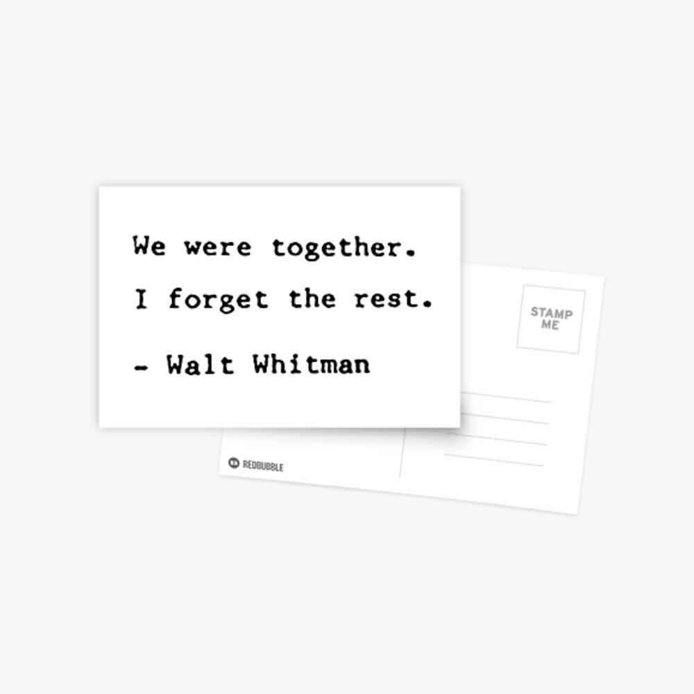 Walt Whitman Zitat Postkarte