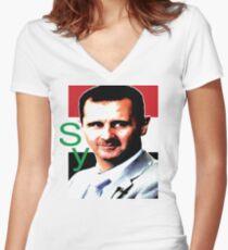 Syria Bashar Al Assad Women's Fitted V-Neck T-Shirt