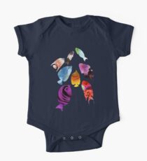Fish shaped Flowers One Piece - Short Sleeve