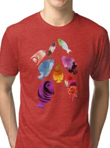 Fish shaped Flowers Tri-blend T-Shirt