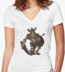Skeleton Warrior Women's Fitted V-Neck T-Shirt