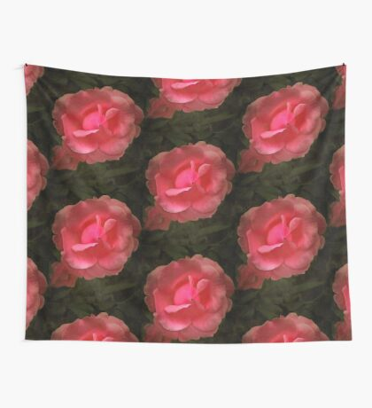 A digital painting of a Pink Rose Wall Tapestry