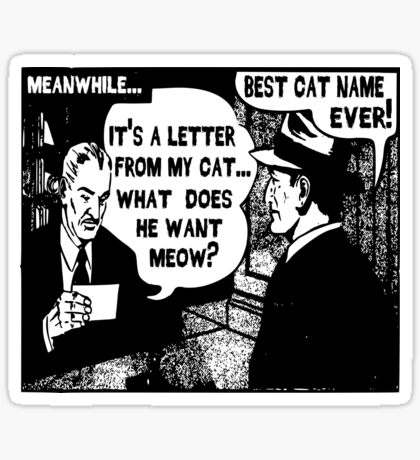 Funny Comic- My Cat. What Does He Want Meow? Sticker