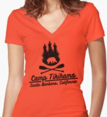 Camp Tikihama  Women's Fitted V-Neck T-Shirt