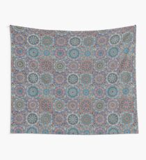 Dark Blue Square Tile Boho Pattern Wall Tapestry