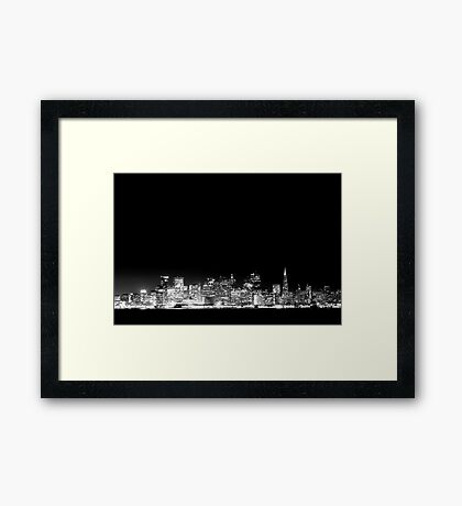 San Francisco Skyline Black & White Framed Print